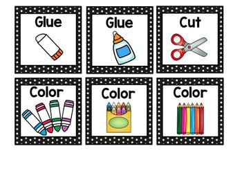 Visual Symbols for Classroom Directions: Black Polka Dot