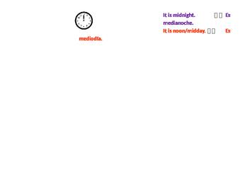 Visual Telling Time Clock Spanish