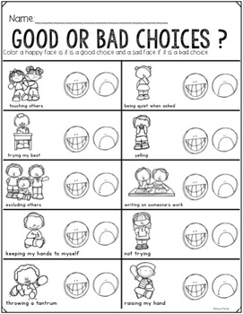 Visual Think Sheet- Behavior Reflection