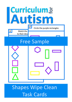 Matching & Sorting Shapes Write & Wipe, Autism, Special Education