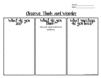 Visual Thinking Strategy / See Think Wonder recording sheet
