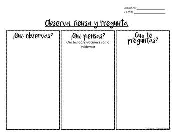 Visual Thinking Strategy VTS recording sheet in Spanish