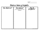 Visual Thinking Strategy VTS recording sheet in Spanish