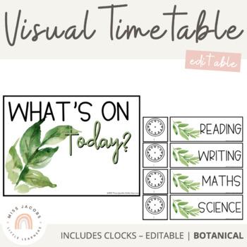 Visual Timetable | Botanical Decor | Editable
