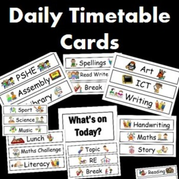 Visual Timetable Cards- Editable