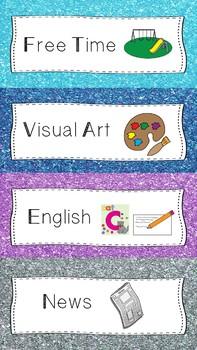Visual Timetable - Glitter Theme