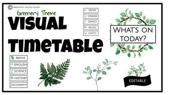 Visual Timetable | Greenery Theme | Editable