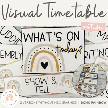Visual Timetable | Neutral Rainbow Theme