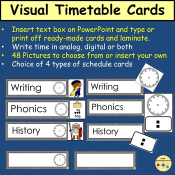 Visual Timetable/Schedule Cards, Classroom Management and Decor (Editable)