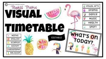 Visual Timetable | Tropical Theme | Editable