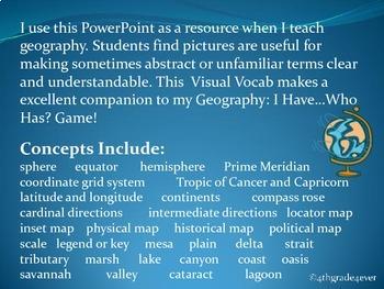 Geography : Visual Vocabulary Reviews equator Prime Meridian latitude...