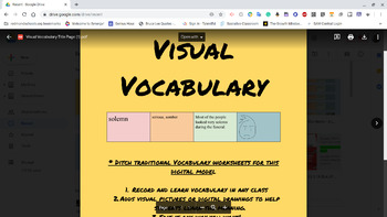Visual Vocabulary-Completely editable-Digital Google Doc
