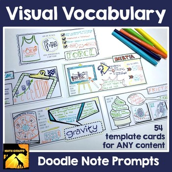 Visual Vocabulary Prompts: Doodle Note Review Card Templates