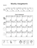 Visual Weekly Assignment Sheet Organizer (Word Doc Format)