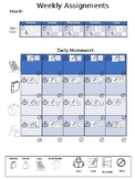 Visual Weekly Homework Assignment Sheet (PPT format)