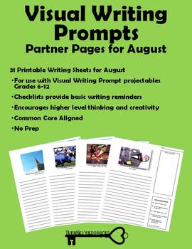 Visual Writing Prompts for August - Grades 6-12
