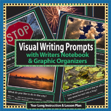 Writing Prompts for K, 1st, & 2nd grade with photos, notebook & organizers