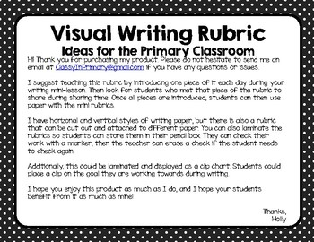 Visual Writing Rubric for the Primary Classroom