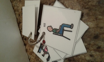 Visual classroom expectation task cards on ring