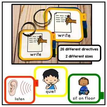 Portable Visual Cue Directives. Autism, PECS, Auditory Processing. 2 Sizes.