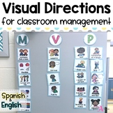 Visual direction cards for routines & procedures | in English & Spanish