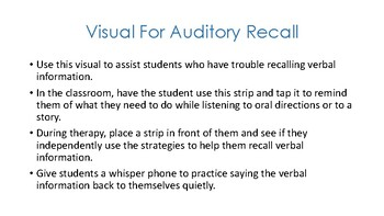 Visual for Auditory Recall