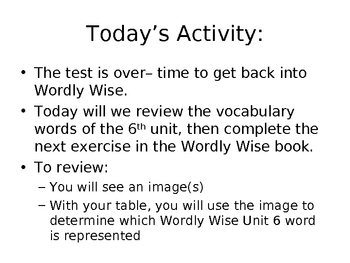 Visual introduction to Wordly Wise Book 6 Unit 6