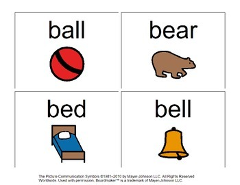 47 Visual (BOARDMAKER) Sight Word Flashcards for Autism or Early Readers