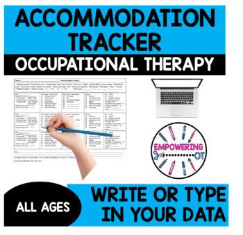 Visual motor, fine motor, sensory processing IEP accommodation tracker SPED