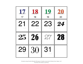 Visual numbers 0-10 and calendar numbers