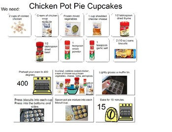 Visual recipe for Chicken Pot Pie Cupcakes