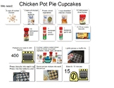 Visual recipe for Chicken Pot Pie Cupcakes