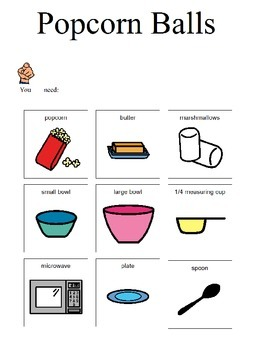 Visual recipe for Popcorn Balls for students with disabilities, autism