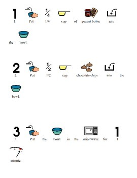 Visual recipe for Puppy Chow for students with disabilities, autism