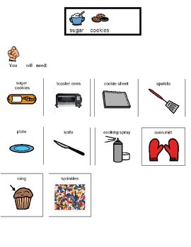 Visual recipe for decorated sugar cookies for students with autism