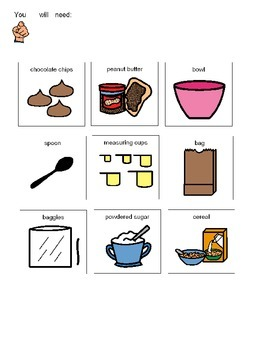 Visual recipe for making puppy chow with students with autism