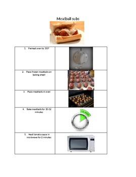 Visual recipe meatball sub