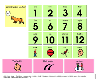 "Visual supports for use when teaching the game ""What Time is it Mr. Fox?""."