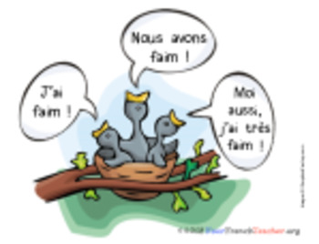 Visual to help students pronounce FAIM correctly in French