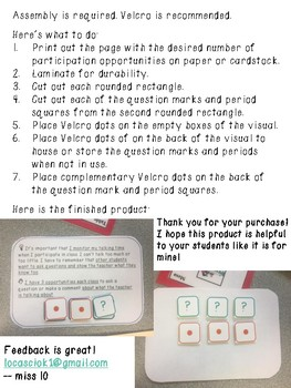 Speech Therapy Self-monitoring visual for class participation