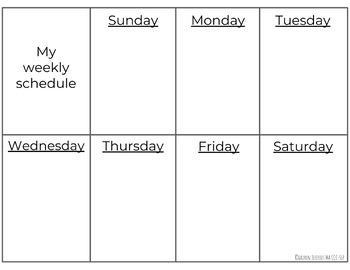 Weekly visual schedule for home