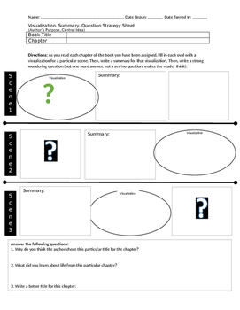 Visualization, Summary, Question Strategy Sheet