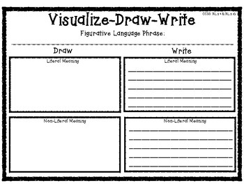 Visualize Draw Then Write Literal Language Graphic Organizer