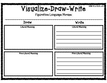 Visualize-Draw-Write Graphic Organizer for Literal & Non-Literal Language
