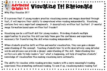 Visualize It! Game Common Core Aligned Writing & Reading Standard Practice