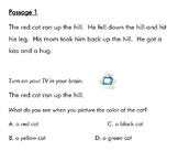 Visualizing Reading Comprehension Passages Level 1