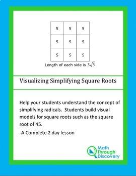 Middle School:  Visualizing Simplifying Radical Expression