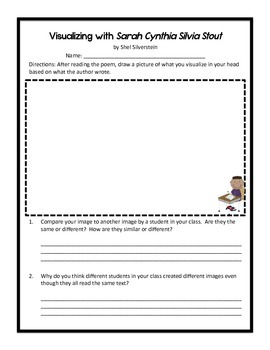 Visualizing Reading Strategy Worksheet with Shel Silverstein