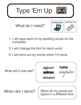 **Visually Structured** - Packet of Spelling Contract Activities for Sept