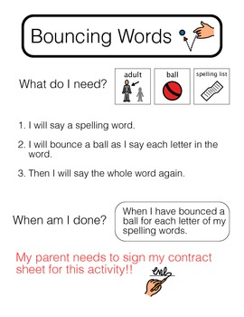 **Visually Structured** Spelling Activity - Bouncing Words